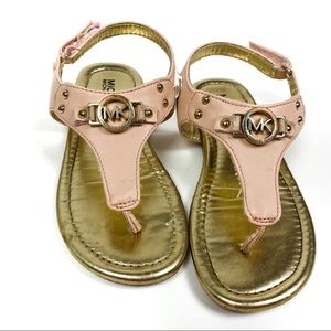 Michael Kors Baby Pink Leather Thong Sandals